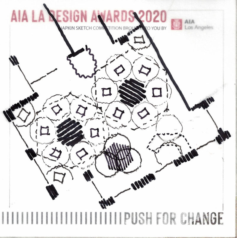 "What a nice surprise to win the the AIA/LA Design Awards Napkin Sketch Competition with ""a plan for a socially distanced salon"""