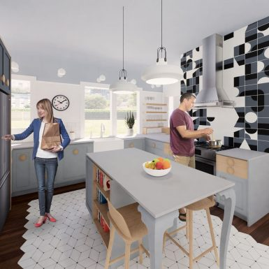 Interior view of light-filled kitchen with dining room in background. Detailed relaxing space with contemporary geometric tile, rich wood flooring, modern fixtures, and whimsical craftsman touches.