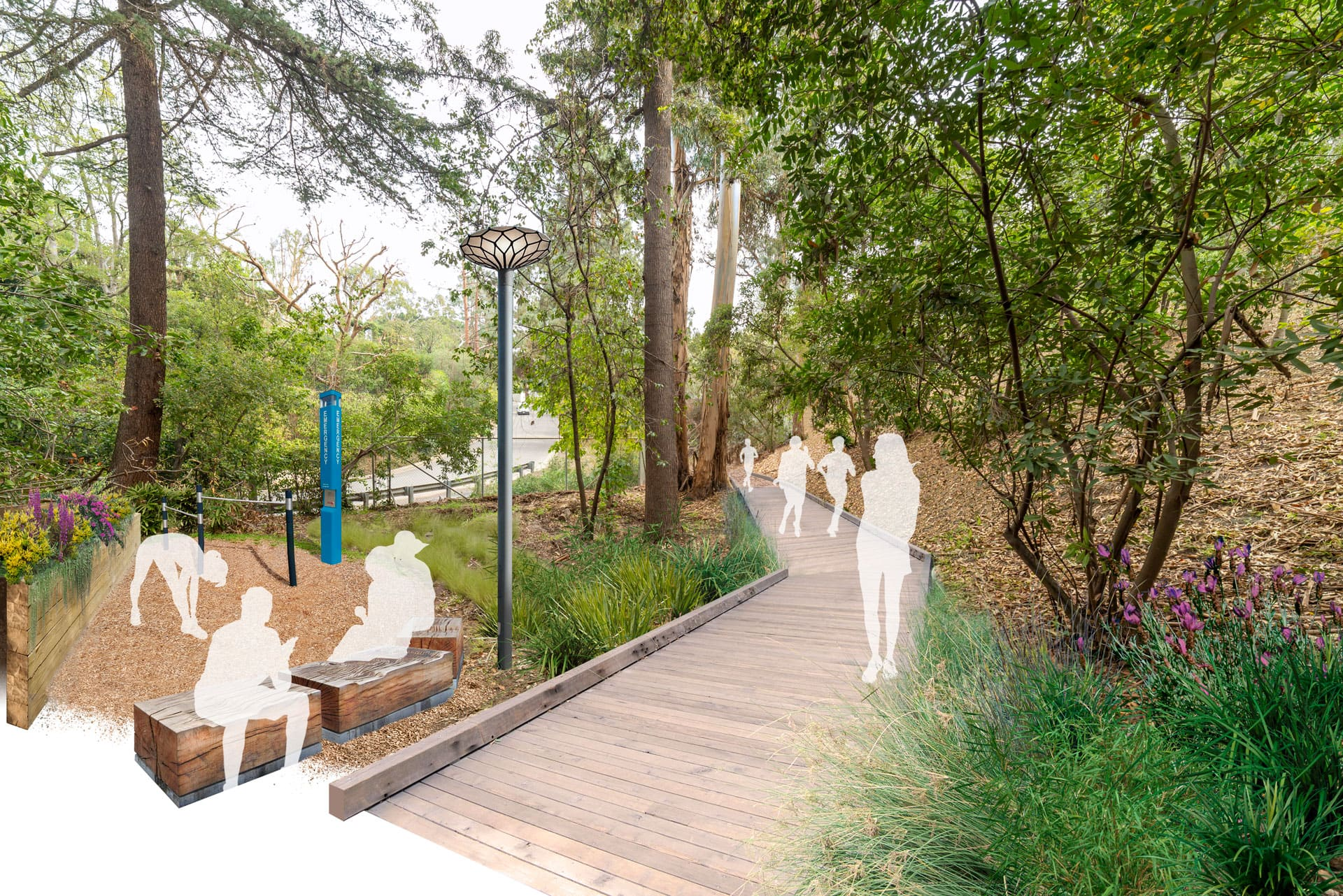 Rendered view of forest boardwalk and rest/exercise nook with benches and exercise equipment.