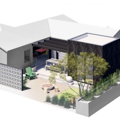 Axonometric 3D view of renovation and addition.