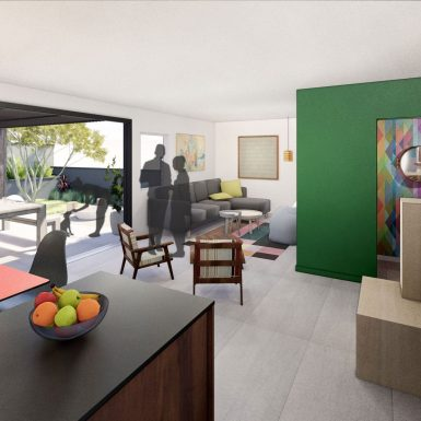 Interior view of home's den, living room, and bright green powder room, with mid century modern furniture filling the indoor / outdoor space.
