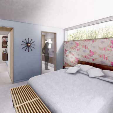 Interior view of the modern, light-filled master bedroom and bathroom suite, with pittosporum trees visible through the clerestory window.