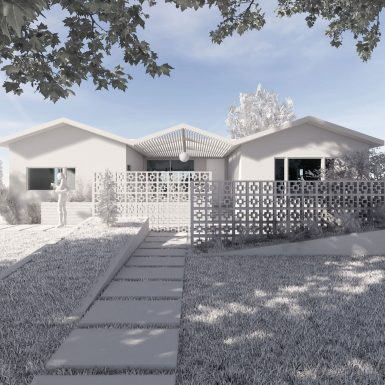 Exterior street view of modern house renovation, with mid-century breeze block screen walls, contemporary board-formed concrete planters, and filtered light streaming through the angular front porch trellis.