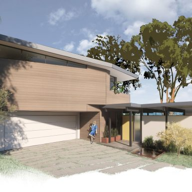 Front view of wood clad mid century modern home. A second level addition sits above the renovated post and beam house.