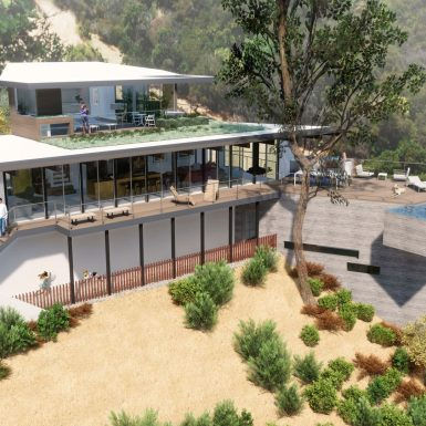 Aerial view of house and surrounding landscape. A wood clad master suite addition sits above the original mid century modern post and beam house, with a board-formed concrete addition down the hill below. A cantilevered infinity edge pool extends out from the roof deck.