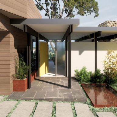 Entry view of the stoop and pivoting front door, with a corten steel reflecting pool and planter alongside contemporary concrete pavers.