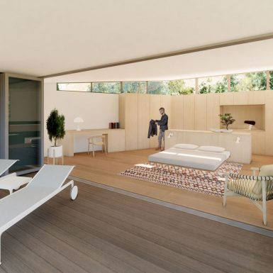 Indoor / outdoor view of the contemporary master bedroom and wood roof deck, with a marble clad planter and glass folding door.
