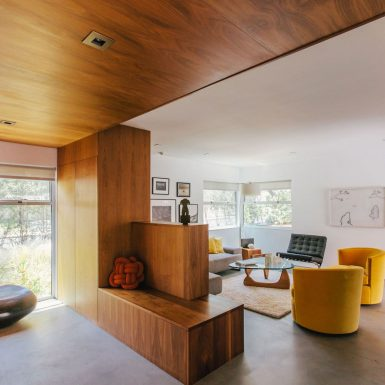 Ranch Redux - Interior view of the entry and living room, with warm wood and mid century modern vibe. Photograph by Tomoko Matsubayashi.